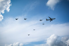 Fighter planes refueling in flight Stock Photo