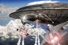 Fighter planes and UFO combat Stock Photography