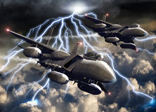 Fighter-planes under the storm Stock Image