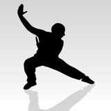 Fighter pose two art silhouette Royalty Free Stock Photo