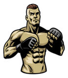 Fighter pose. Vector of mixed martial arts fighter pose Royalty Free Stock Image