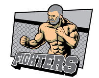 Fighter ready for fighting. Vector of fighter ready for fighting Royalty Free Stock Images