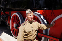 Fighter of Red Army in the form of times of World War II at old Stock Photography