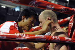 Muaythai World Championships. A Fighter rests between rounds in a match in the WMF Muaythai World Championships at the Thai National Stadium on March 22, 2013 in Royalty Free Stock Photos