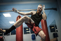Fighter shadowboxing at gym Stock Photography