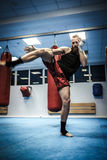 Fighter shadowboxing at gym Royalty Free Stock Photography