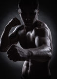 Fighter silhouette. Handsome athletic man in boxing stand on a dark background Royalty Free Stock Image
