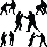 Fighter silhouette vector. Fighters in different poses silhouette vector Stock Photos