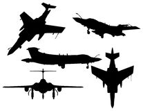 Fighter silhouettes. Five kinds of vector fighter silhouettes Royalty Free Stock Image