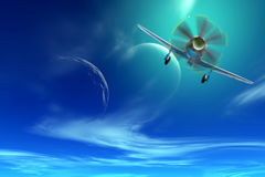 Fighter in the sky of another planet. Collage. Old military aircraft fighter in the sky of an alien planet Stock Photo
