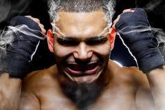 Fighter Smoking Rage Stock Image