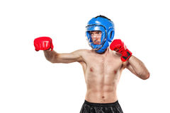 Fighter in sports helmet and gloves Royalty Free Stock Photo