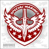 Fighter squadron airforce - military aviation. Vector illustration Stock Photo