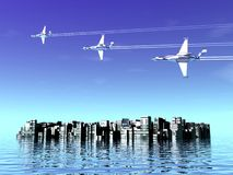 Fighter squadron and city. Airplanes and sea. 3D landscape with war-planes Royalty Free Stock Photography