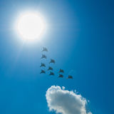 Fighter Squadron on parade in Moscow Stock Photos