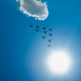 Fighter Squadron on parade in Moscow Royalty Free Stock Photo