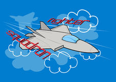 Fighter squadron. Vector illustration of a air fighter jet Royalty Free Stock Image