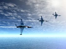 Fighter squadron. War-planes. Airplanes and sea. 3D landscape with war-planes Royalty Free Stock Image