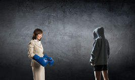 She is fighter for success . Mixed media . Mixed media Royalty Free Stock Photography