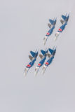 Fighter Sukhoi Su-27 show aerobatics at an airshow Russian Knights. Royalty Free Stock Images