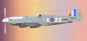 Fighter. A Supermarine World War II Spitfire Mark XIV  fighter plane returning from patrol with flack and machine gun dmage Royalty Free Stock Images