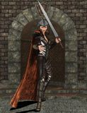 Fighter with sword. 3D render of a female fighter with sword and cape in castle Stock Image