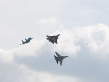 Fighter T-50, Su-34 and Su-35 air show Royalty Free Stock Image