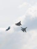 Fighter T-50, Su-34 and Su-35 in flight Stock Photos