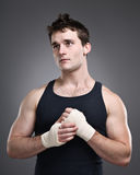 Fighter Taping Hands Portrait Stock Images