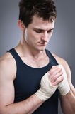 Fighter Taping Hands Portrait Stock Image