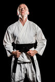 Fighter tightening karate belt Stock Photography