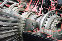 Fighter turbojet engine. Fighter turbojet  engine cutaway. the blades in the area of the compressor. selective focus Stock Images