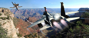Fighter and UFO pursuit. A fighter F15  pursues an UFO  over the Grand Canyon Stock Image