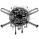 Fighter. Vector illustration crossed bats and barbed wire on grunge background. Inscription street fighter and fist. For tattoo or t-shirt design Stock Photography