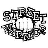 Fighter_22. Vector illustration fist on grunge background. Inscription street warrior. For tattoo or t-shirt design Stock Images