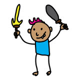 Fighter Warrior Playing cartoon. Fighter Warrior Playing Kid with sword and trisula Royalty Free Stock Images