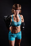 Fighter woman boxing Stock Photo