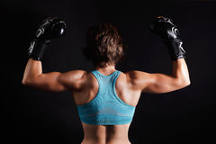 Fighter woman in boxing gloves Royalty Free Stock Photography