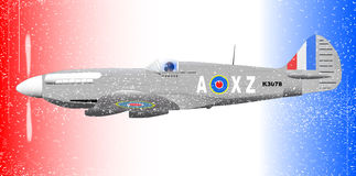 Fighterplane Grunge Effect. A Supermarine World War II Spitfire Mark XIV  fighter plane out on patrol against a patriotic red white and blue background with Stock Image