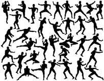 Fighters. Set of editable vector silhouettes of fighting men Stock Images