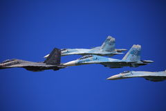 Fighters in blue sky closeup royalty free stock images