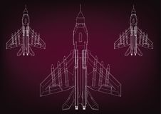 Fighters on a burgundy. Background. 3d model Stock Images
