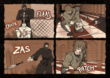 Fighters comic scene. Design of fighters comic scene Stock Image