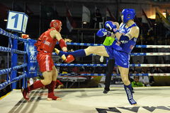 Amateur Muaythai World Championships. Fighters compete in a match in the Amateur Muaythai World Championships at the Thai National Stadium on March 18, 2013 in Royalty Free Stock Photo