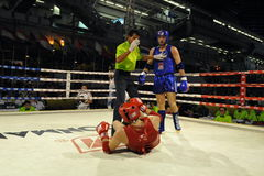 Amateur Muaythai World Championships. Fighters compete in a match in the Amateur Muaythai World Championships at the Thai National Stadium on March 18, 2013 in stock image