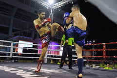 Muaythai World Championships. Fighters compete in a match in the Muaythai World Championships at the Thai National Stadium on March 21, 2013 in Bangkok, Thailand royalty free stock images