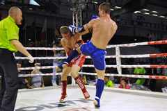 Muaythai World Championships. Fighters compete in a match in the WMF Muaythai World Championships at the Thai National Stadium on March 22, 2013 in Bangkok stock image