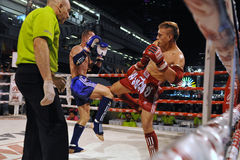 Muaythai World Championships. Fighters compete in a match in the WMF Muaythai World Championships at the Thai National Stadium on March 22, 2013 in Bangkok royalty free stock photos