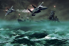 Fighters and destroyer. In the middle of a storm, two F15 fighters flying over the ocean, where navigates a destroyer Royalty Free Stock Photos