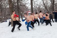 Fighters of fisticuffs at the festival of Maslenitsa in Russia Royalty Free Stock Image
